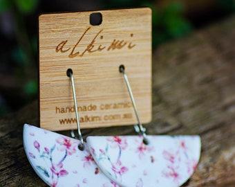 NEW Porcelain Dangle Earrings - Pink Blossom Ceramic Hoop - ALKIMI - Surgical Steel Kidney Hooks earrings Hypoallergenic Statement Earrings