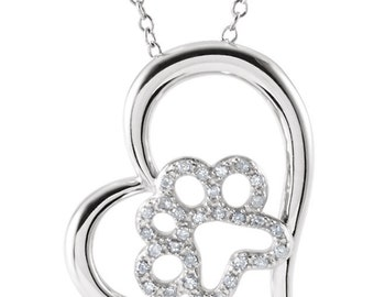 Diamond Paw Print Heart Necklace - Sterling Silver