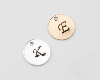 ADD-ON 9mm Round Hand Stamped Letter Charm, Custom Stamp, Add A Stamp