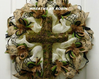 Cross Wreath, Burlap Moss Cross Wreath, Item 2589