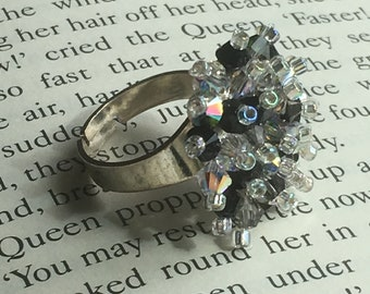 Beautiful handmade Swarovski crystal adjustable cluster ring - shades of midnight