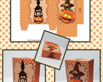 Digital Printable Halloween Cat Candy Box - Instant Download