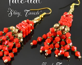 Shiny Tassels - beading pattern, beadwoven earrings tutorial, beading tutorial, earring pattern, bead pattern, rulla, bicone - TUTORIAL ONLY