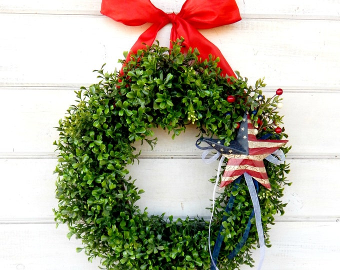 Featured listing image: 4th of July Wreath-Summer Wreath-4th of July-Patriotic Home Decor-July 4th Door Wreath-Summer Home Decor-Custom Made USA-Military Decor