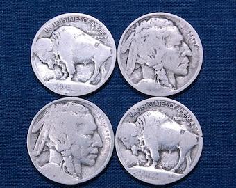 Six 1913 Type 1 Buffalo Nickels