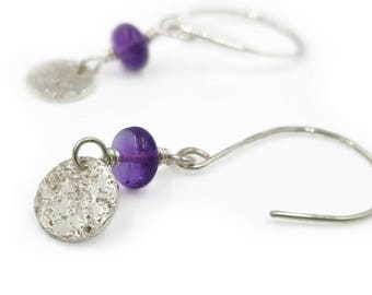 Amethyst Earrings with hand forged silver, February birthstone jewelry, bright or oxidized sterling silver artisan earring, purple gemstone