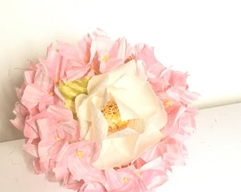 Bridesmaid Bouquet-Flower paper bouquet-Bridesmaid accessory-Pink paper yarn