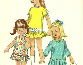 Girls One Piece Dress and Panties Pattern Drop Waist with Pleated or Gathered Short Skirt UNCUT Size 3 Chest 22