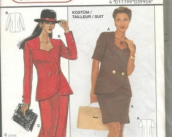 ON SALE 1980s Women's Suit Skirt Variations Double Breasted Sweetheart Neckline Burda 3990 Uncut FF Size 8 - 16 Womens Vintage Sewing Patter
