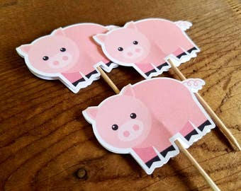 Farm Birthday Party - Set of 12 Pig Cupcake Toppers by The Birthday House