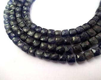 """AAA Grade IOLITE Faceted 3D Cube Briolette Beads, Faceted Box Beads, Size 6-6.5 mm, 7"""" Strand, Super Quality for Jewellery"""