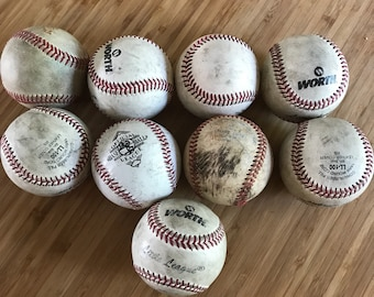 Lot of 9 grungy old dirty baseballs biwl fillers decor