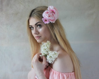 Pink floral hairclip