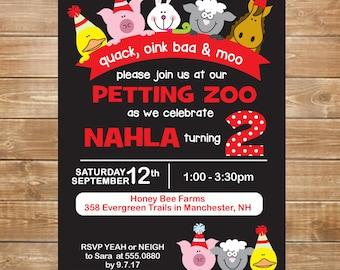 Petting Zoo Birthday Invitation, Petting Zoo Party, Farm Party Invite, DIY, Printable