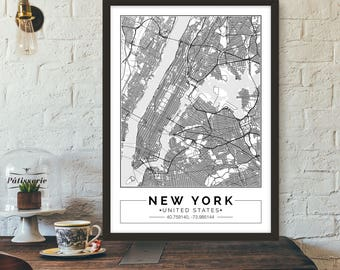 Custom City Map Print Customize the size and color Printable map Wall art  sc 1 st  Etsy & City maps | Etsy