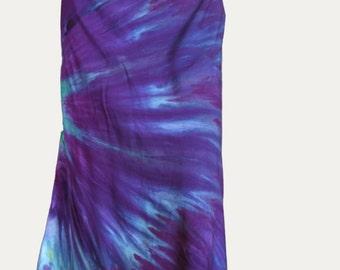 Tie Dye Skirt - Tie Dye Dress - Purple Skirt - Purple Dress - Green and Purple Hippie Clothing - Size XL