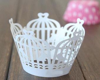 50x White Birdcage Cupcake Wrapper for Wedding Engagement Party Cake Tree  Decoration | Reception Centerpiece Baking Decor