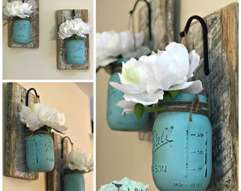Set of Hanging Mason Jar Flower Vases| Rustic Decor| Barnboard and Mason Jar Wall Vases