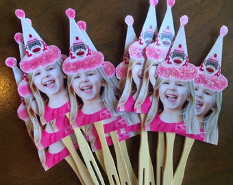 Sock Monkey inspired birthday hat photo cupcake toppers .