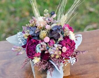 Desktop arrangement, burgundy and pink dried flower arrangement, sympathy gift, bereavement gift, fall decor, housewarming gift,