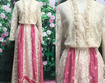 70s Carefree Fashions Pink Floral Lace Maxi Skirt and Matching Lace Blouse