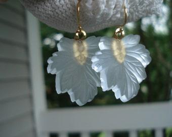 SALE Luminous Vintage Light Blue Leaf Leaves Gold Earrings Fall Autumn Woodland