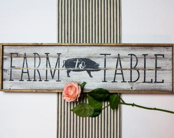 Farm To Table Distressed Farmhouse Kitchen Wood Wall Decor Sign