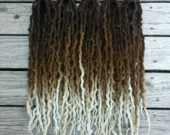 Full Set 50 Double Ended Wool Dreads Dreadlocks Brown Blonde Silver Ombre Double Hair Extensions ~Choose Length~