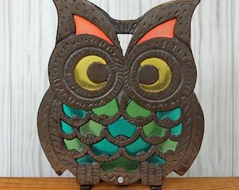 Vintage Stained Glass Cast Iron Owl Napkin Holder Suncatcher Retro Kitchen  Decor Metal Base
