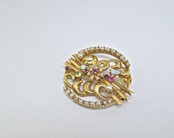 14k Gold And Colored Stone Vintage Pin