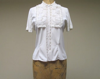 Vintage 1950s Blouse / 50s Sheer White Nylon Lace Blouse / Medium