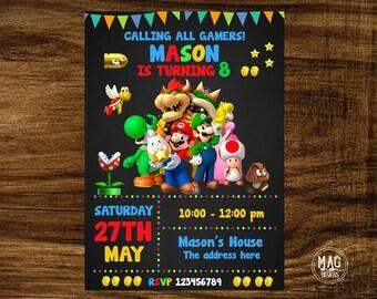 Mario bros Invitation Super Mario bros Invite Mario bros