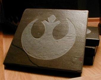 Rebel Alliance Drink Coasters - Multicolor Drink Coasters Slate Stone - Set of 4 - Sci fi Room Decor Gift Drink Coasters