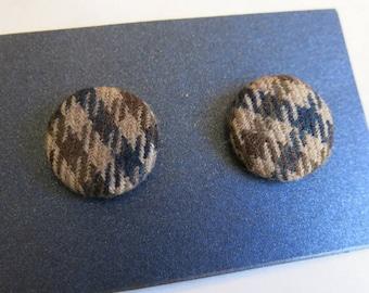 Tweed earrings - fabric covered earrings in soft brown wool tweed - gifts for her - stocking filler - secret santa