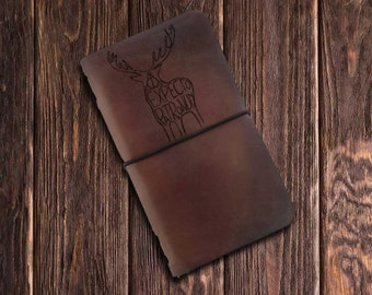 FREE Personalization Handmade Leather Journal with Deer  gift deer custom animal lovers gift elk deer gift