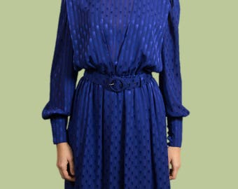 Vintage Blue Dress - Peter Barron Shimmer Iridescent Long Dress with Belt and Elastic Waist