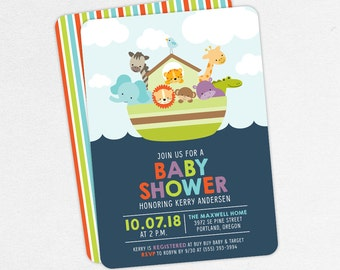 Baby Shower Invitation, Neutral Baby Shower, Boy Baby Shower, Printable Invitation, PDF Invitation, Boat, Giraffe, Elpehant, Lion, Noahs Ark