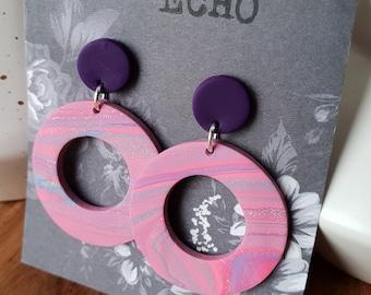Pink swirl circle dangle