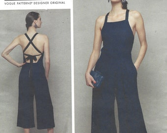 Rebecca Vallance Womens Halter Jumpsuit Wide Legs and Open Back Vogue Sewing Pattern V1591 Size 14 16 18 20 22 Bust 36 38 40 42 44 FF