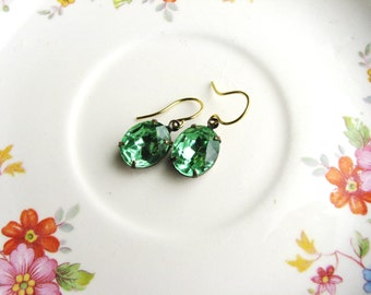 Green Vintage Rhinestone Earrings Peridot Green Jewel Gem Earrings Delicate Simple Design Jewelry Retro Estate Style Minimalist