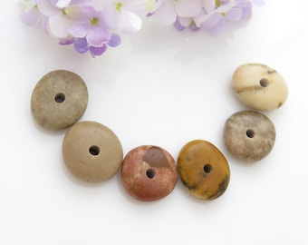 Colorful Center Drilled Beach Stones, Roundish Pebbles, Natural Pebbles, Drilled Thick Stones, Jewelry Supplies, Natural Stone Beads