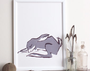 Sleepy grey bunny (or orange hare) original screen print