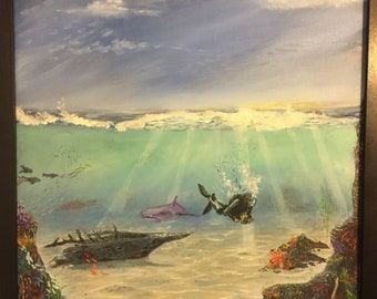 Diver searches for mermaid oil painting