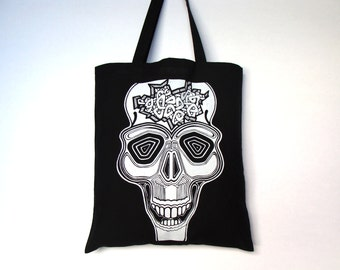 Skull bag, Gothic tote bag, Skull tote bag, Screen printing tote bag, Tote bag, Canvas tote bag, Skull black bag, Gothic skull bag