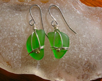 Tiny Sweet Green Lake Superior Beach Glass Earrings