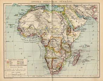 Antique political map of Africa from 1893