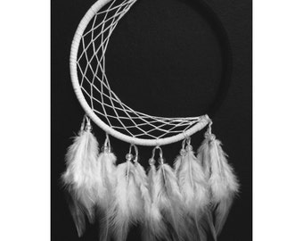 Moon dream catcher, faux suede, white web, white feathers - 5 inches diameter dreamcatcher hand made