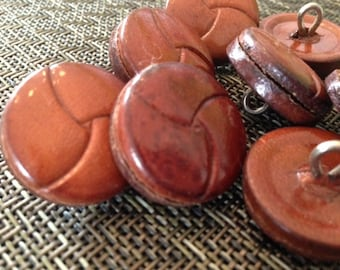 "Vintage 1"" Leather Woven Buttons NEW"