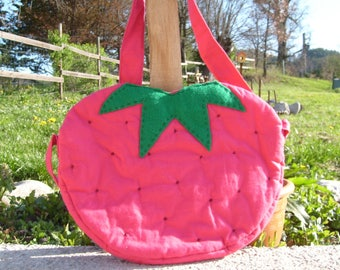 Strawberry pink quilted fabric bag and matching Cap