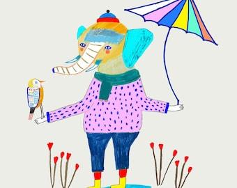 Elephant and bird with umbrella. children's illustration art print by Ashley Percival.
